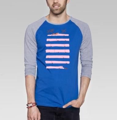 Foxcar - Футболка мужская с длинным рукавом синий / серый меланж, лето, Популярные