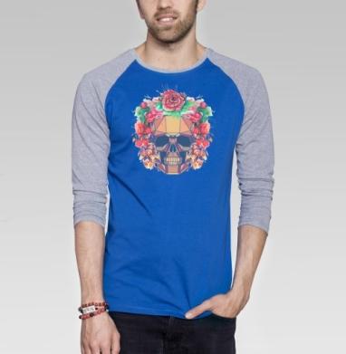 Polygonal human skull and watercolor wreath.Los muertos.  - Футболка мужская с длинным рукавом синий / серый меланж, череп, Популярные