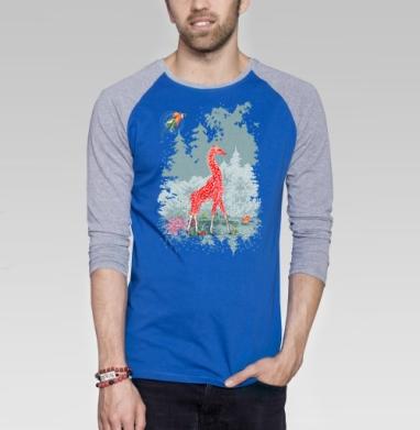 Жираф-мухомор в сказочном лесу - Футболка мужская с длинным рукавом синий / серый меланж, психоделика, Популярные