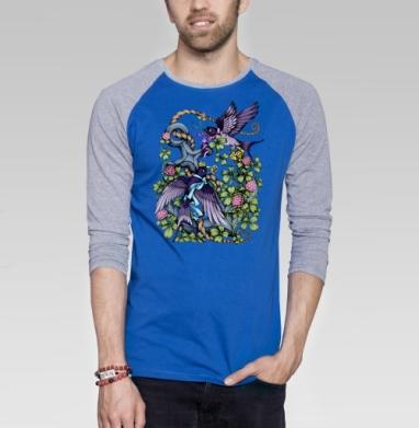Ласточки - Футболка мужская с длинным рукавом синий / серый меланж, Крылья, Популярные