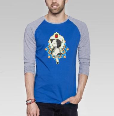 Meditation - Футболка мужская с длинным рукавом синий / серый меланж, йога, Популярные
