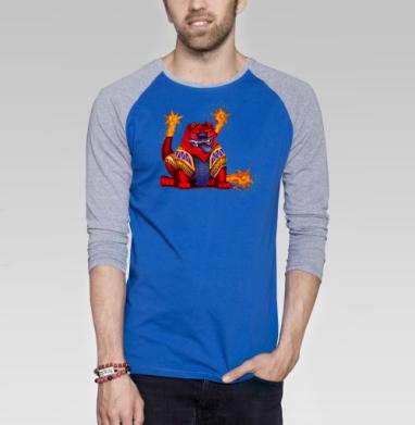 Вулфкан - Футболка мужская с длинным рукавом синий / серый меланж, сказки, Популярные