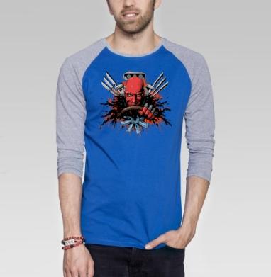 Автокровь - Футболка мужская с длинным рукавом синий / серый меланж, игры, Популярные