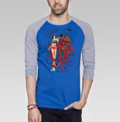 Дама пик - Футболка мужская с длинным рукавом синий / серый меланж, пират, Популярные