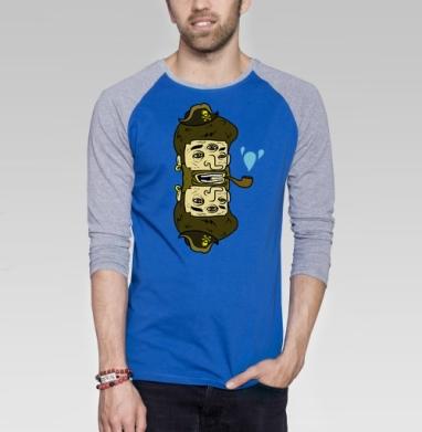Double pirate - Футболка мужская с длинным рукавом синий / серый меланж, пират, Популярные