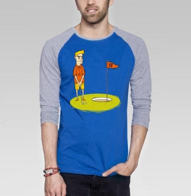 Golf - Футболка мужская с длинным рукавом синий / серый меланж, спорт, Популярные