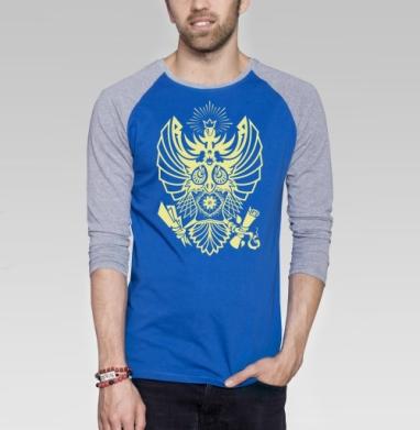 Король ночных стражей - Футболка мужская с длинным рукавом синий / серый меланж, Крылья, Популярные