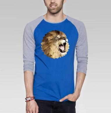 Лев с треугольником - Футболка мужская с длинным рукавом синий / серый меланж, геометрия, Популярные