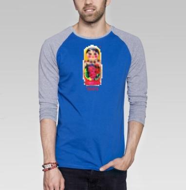 Roots - Футболка мужская с длинным рукавом синий / серый меланж, символ, Популярные