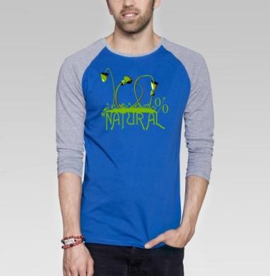 100% NATURAL - Футболка мужская с длинным рукавом синий / серый меланж, грибы, Популярные