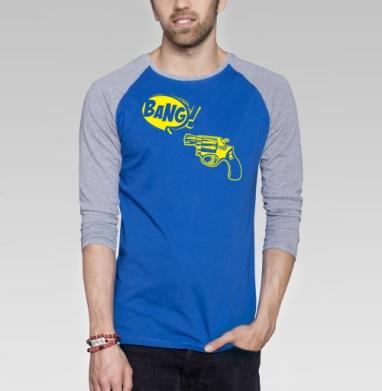 Bang! - Футболка мужская с длинным рукавом синий / серый меланж, оружие, Популярные