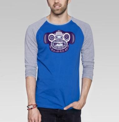 INOmakaka - Футболка мужская с длинным рукавом синий / серый меланж, голова, Популярные