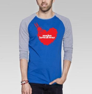 Make love&war - Футболка мужская с длинным рукавом синий / серый меланж, оружие, Популярные