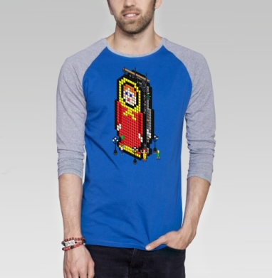 Матрешка - Футболка мужская с длинным рукавом синий / серый меланж, город, Популярные