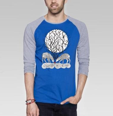No forest - Футболка мужская с длинным рукавом синий / серый меланж, графика, Популярные