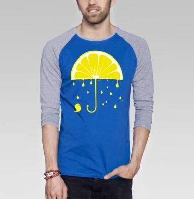 Rain again - Футболка мужская с длинным рукавом синий / серый меланж, фрукты, Популярные