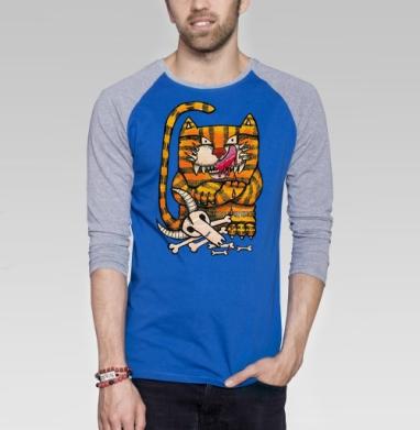 Рыжий котэ - Футболка мужская с длинным рукавом синий / серый меланж, череп, Популярные