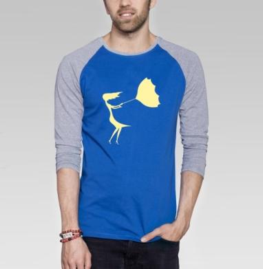 Fragile - Футболка мужская с длинным рукавом синий / серый меланж, нежность, Популярные