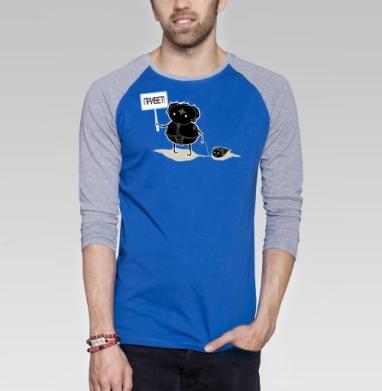 Ой!? - Футболка мужская с длинным рукавом синий / серый меланж, насекомые, Популярные