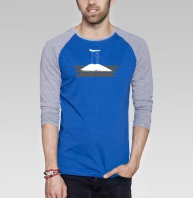 Supersonic discharge seeding - Футболка мужская с длинным рукавом синий / серый меланж, оружие, Популярные