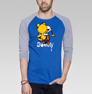 Sweety - Футболка мужская с длинным рукавом синий / серый меланж, сладости, Популярные