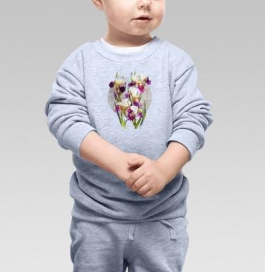 Нежные ирисы - Купить детские свитшоты с природой в Москве, цена детских свитшотов с природой  с прикольными принтами - магазин дизайнерской одежды MaryJane