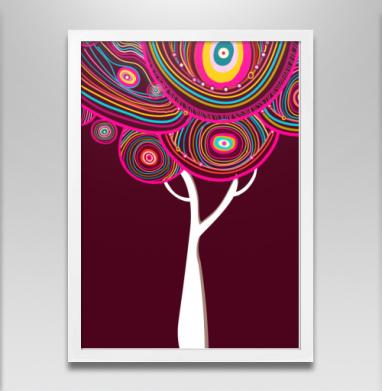 Радужное деревце - Постер в белой раме, этно