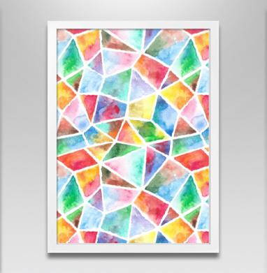 Акварельная мозаика - Постер в белой раме, живопись