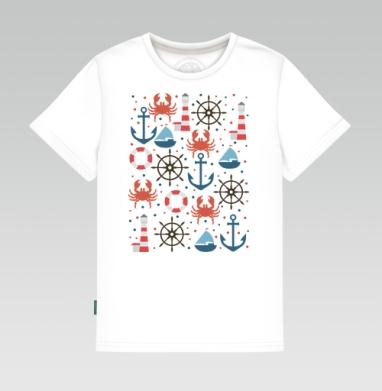 Детская футболка белая - Морской паттерн