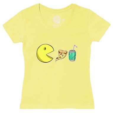 Футболка женская желтая - Голодный пакмэн