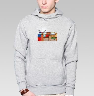 Толстовка мужская, накладной карман серый меланж - Цветные домики