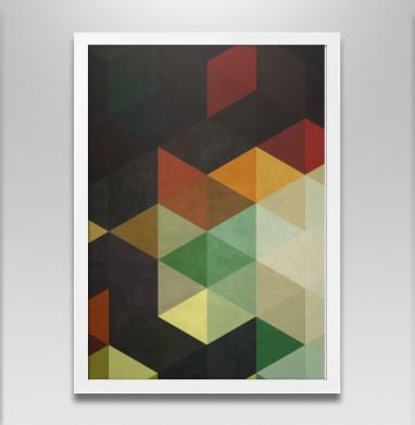 Геометрический узор - Постер в белой раме, геометрия