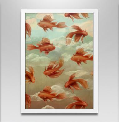 Красные рыбки - Постер в белой раме