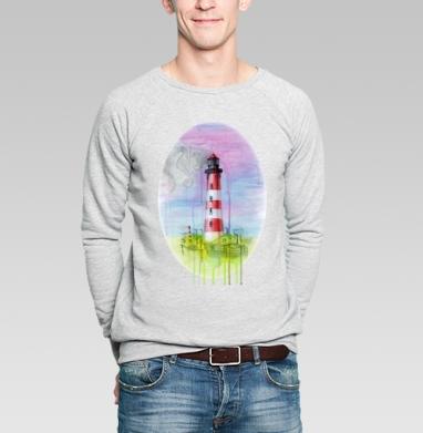 Морская фантазия в промышленном городе - Купить мужские свитшоты с акварелью в Москве, цена мужских  с акварелью  с прикольными принтами - магазин дизайнерской одежды MaryJane