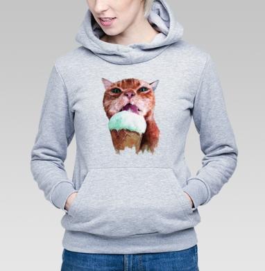 Кот который любит мороженое  - Купить детские толстовки с мороженным в Москве, цена детских толстовок с мороженным  с прикольными принтами - магазин дизайнерской одежды MaryJane