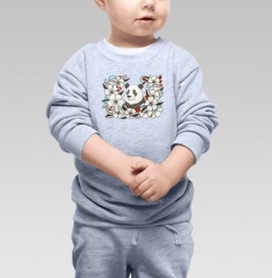 Cвитшот Детский серый меланж - Панда в цветах. графика.