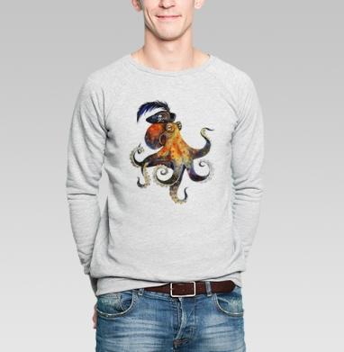 Пиратский осьминог - Купить мужские свитшоты с акварелью в Москве, цена мужских свитшотов с акварелью  с прикольными принтами - магазин дизайнерской одежды MaryJane