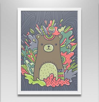 Медведик - Постер в белой раме, этно