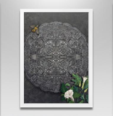 Цветок дурмана - Постер в белой раме, бабочки