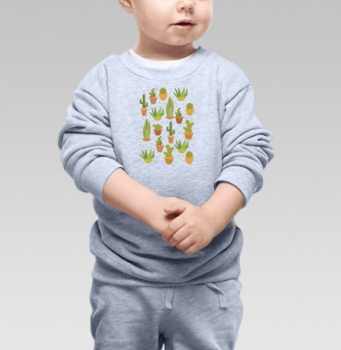 Cвитшот Детский серый меланж - Кактусы