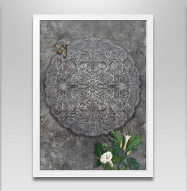 Каменный орнамент - Постер в белой раме, бабочки