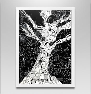 Древо города - Постер в белой раме, aбстрактные
