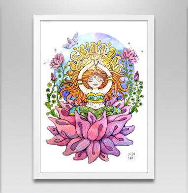 Йога дюймовочка на цветке - Постер в белой раме, спорт