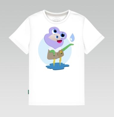 Детская футболка белая 160гр - Летний дождь