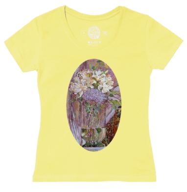 Футболка женская желтая - Розовые лилии