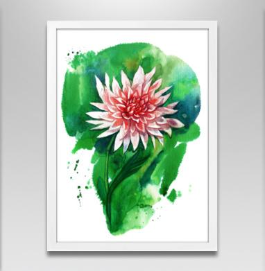 Цветок георгина - Постер в белой раме, aбстрактные