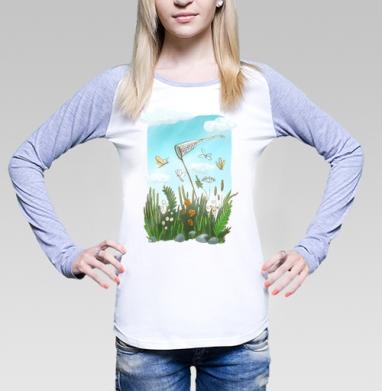 Футболка лонгслив женская бело-серая - Беззаботное лето