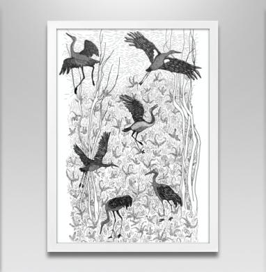 Черные журавли - Постер в белой раме, деревья