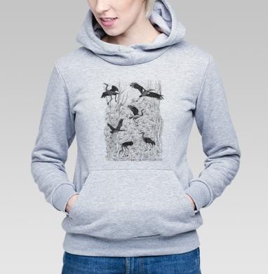 Черные журавли, Толстовка Женская серый меланж 340гр, теплая