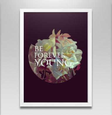 Вечно юный - Постер в белой раме, розы